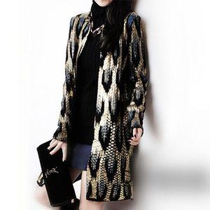 Sweaters - Snake Pattern Long Cardigan Sweater Coat Outwear